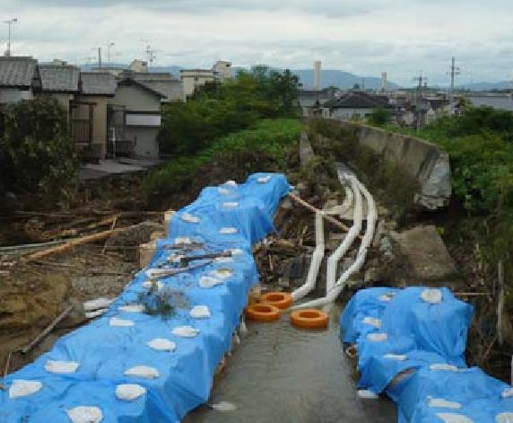 弥陀次郎川の破堤箇所