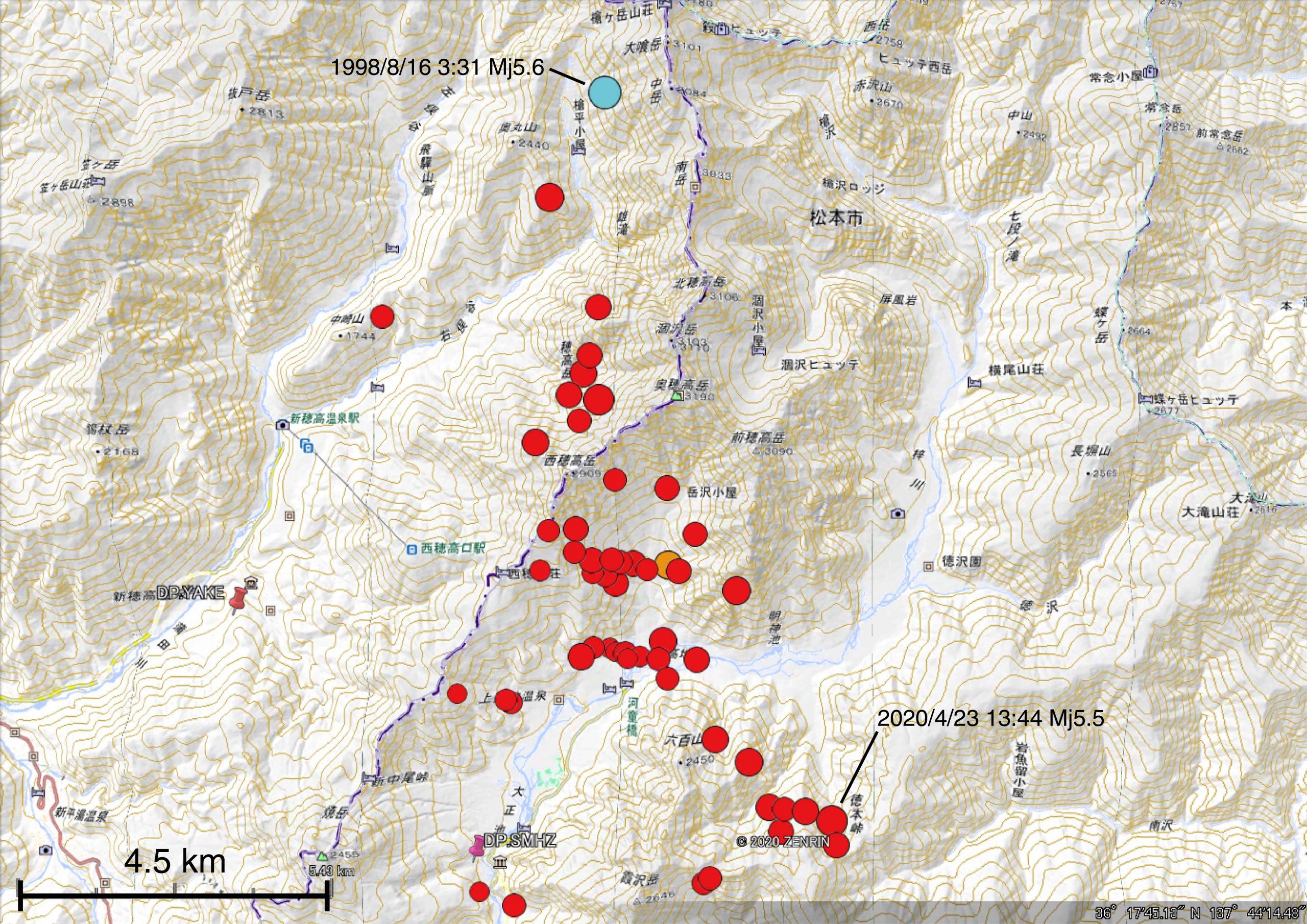 DP.YAKE観測点で計測震度3相当以上を観測した地震の分布