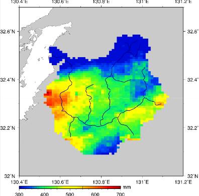球磨川流域の24時間雨量(2020年7月3日10時~4日10時)