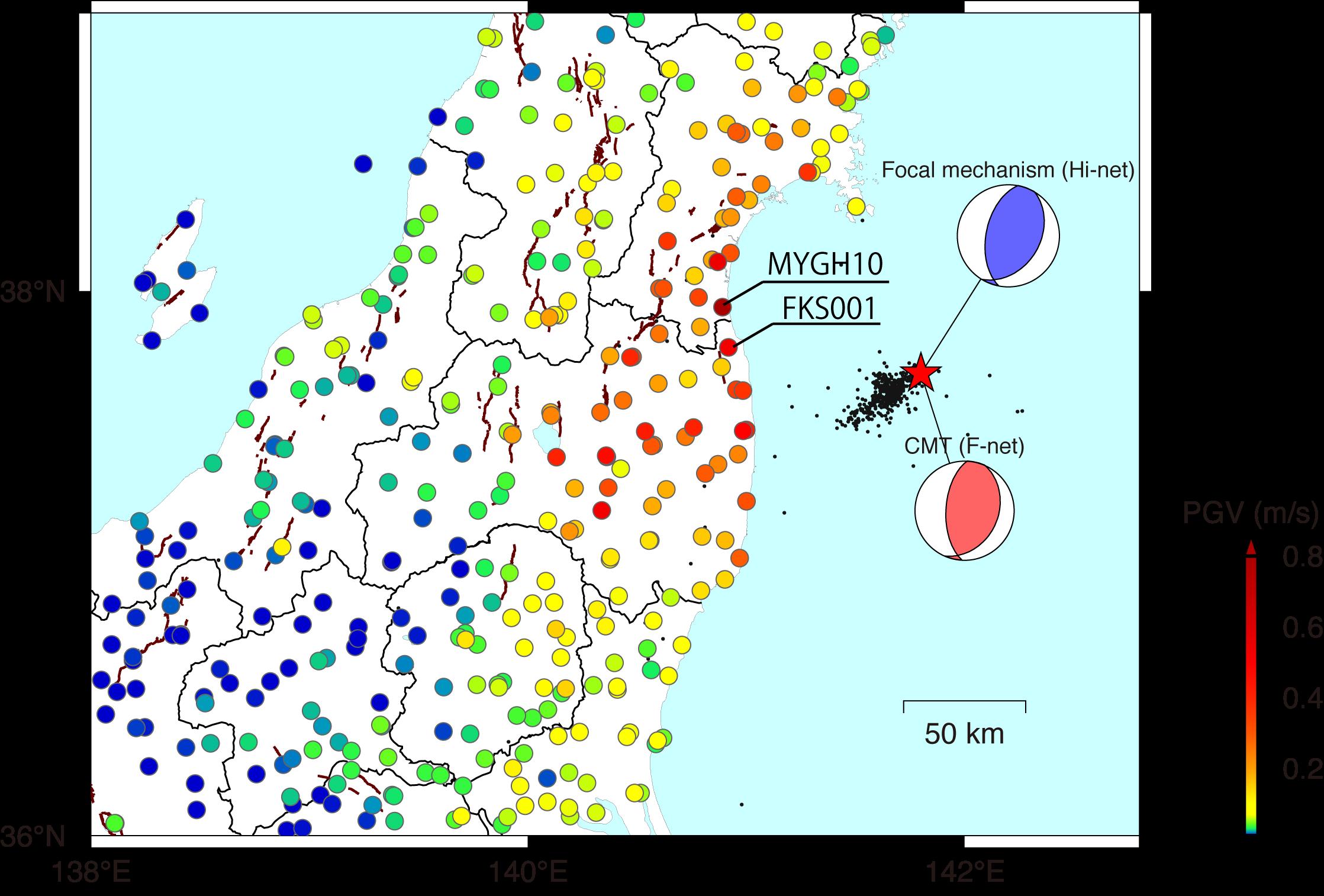 震央位置・メカニズム解・余震域、および地震最大速度分布(2021年 福島県沖の地震)