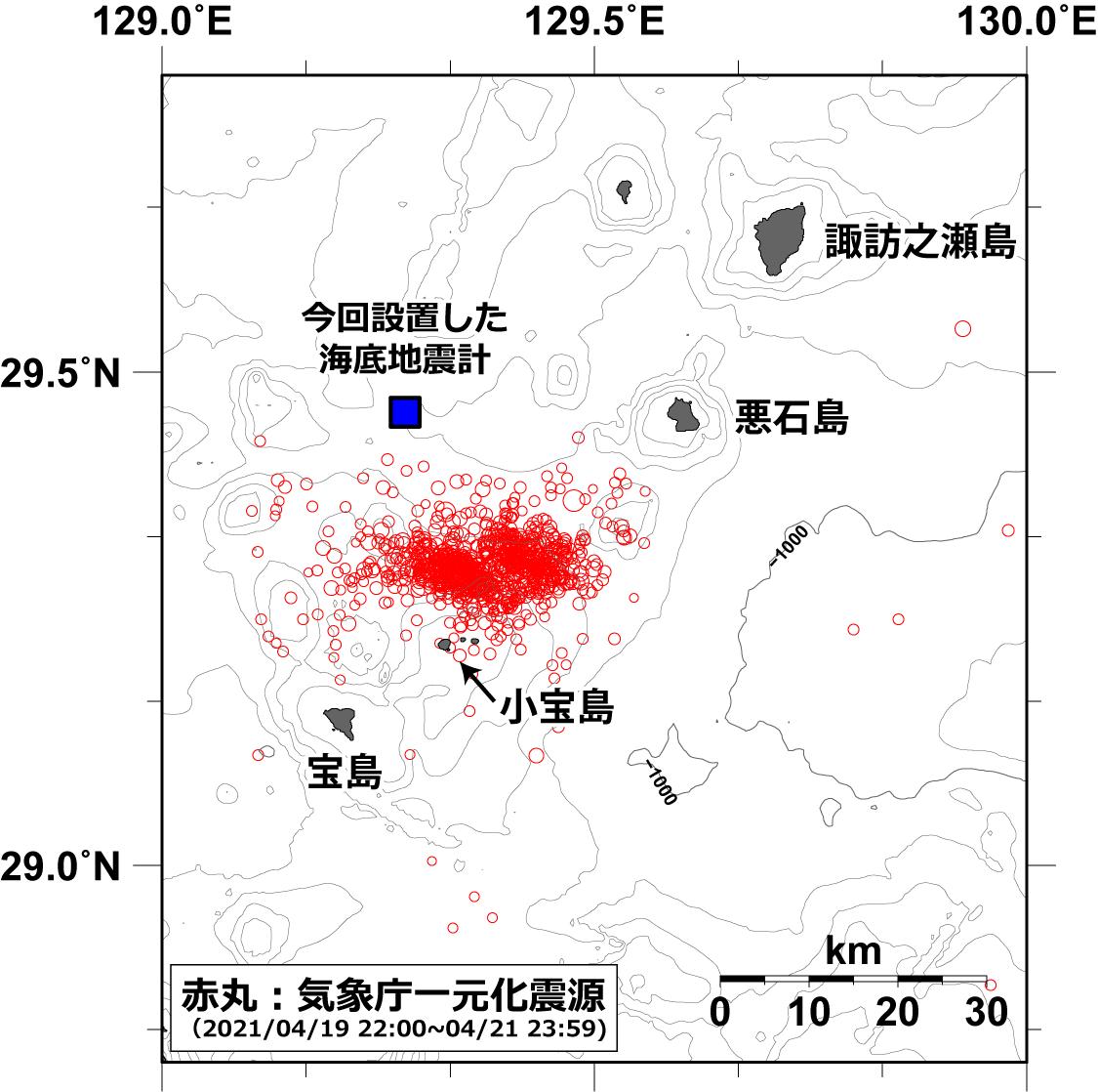 今回設置した海底地震計の位置と気象庁による震央分布